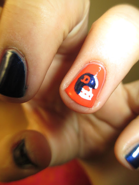 Football, Denver Broncos, blue, orange, horse, helmet, nail art, nail design, mani