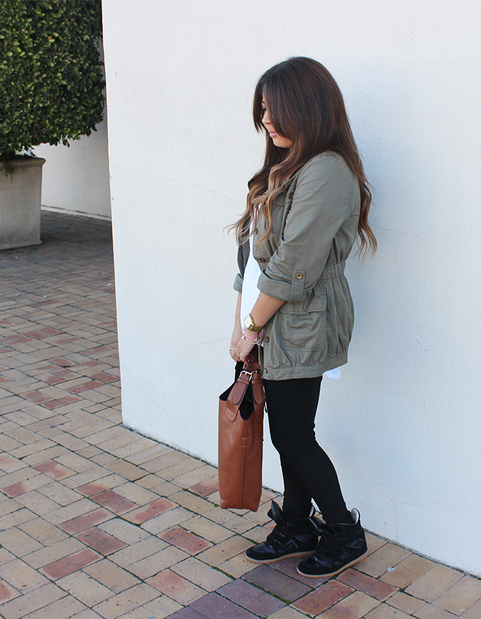 ombre hair, military jacket, sneaker wedges, mr price, scarf stop, bucket bag