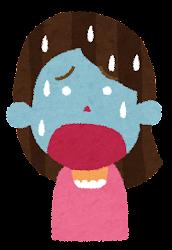 辛い表情の女性のイラスト(6段階)