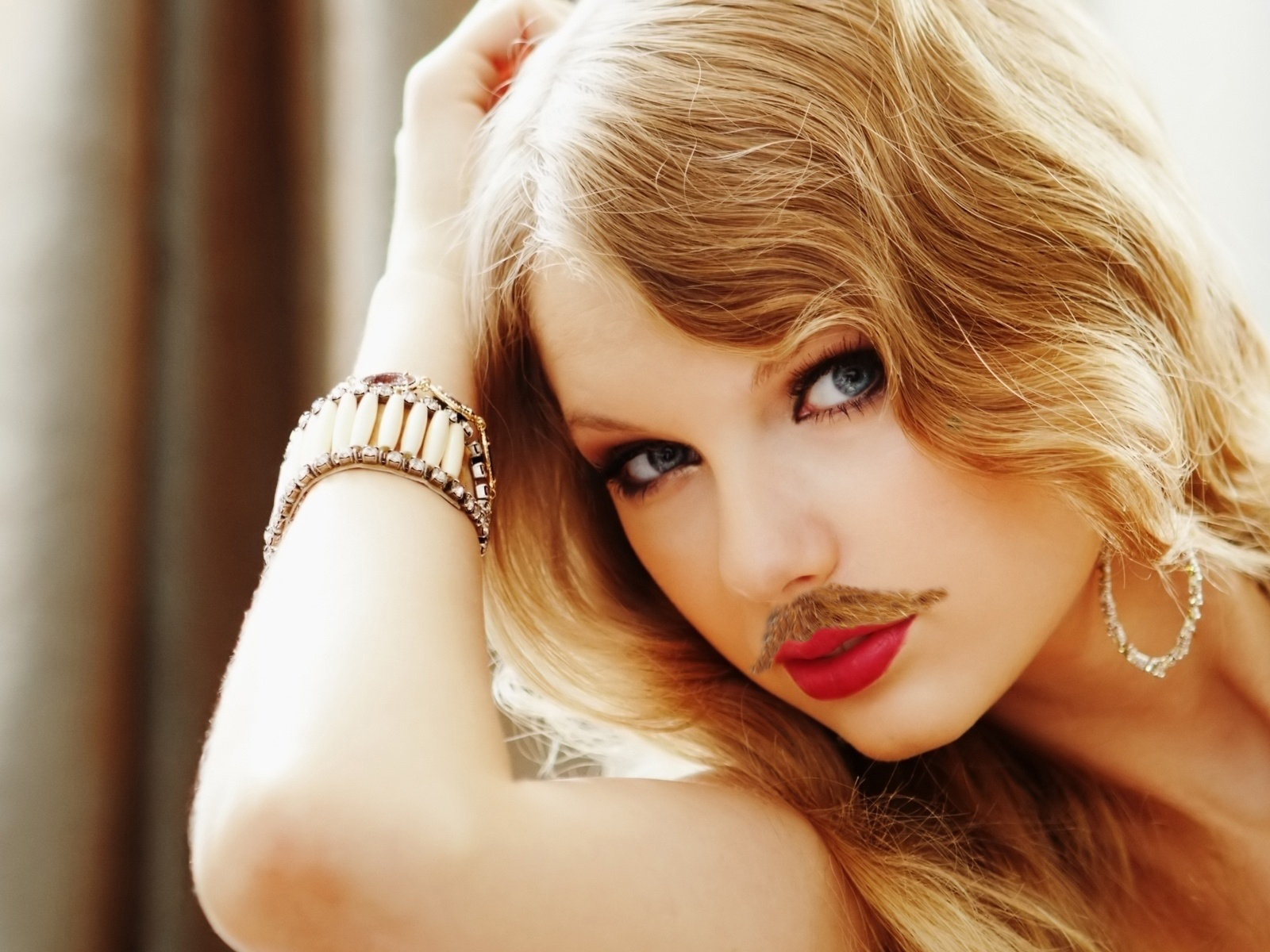 Taylor Swift with a Mustache