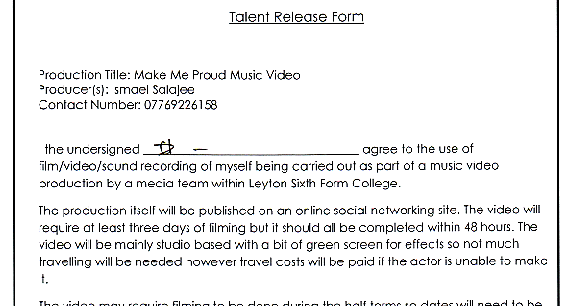 Parths Blog Talent Release Form – Music Release Form