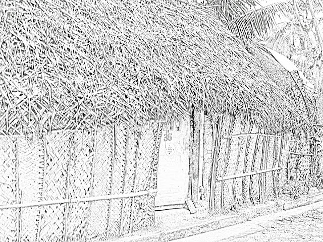 thatched roof and walls drawing