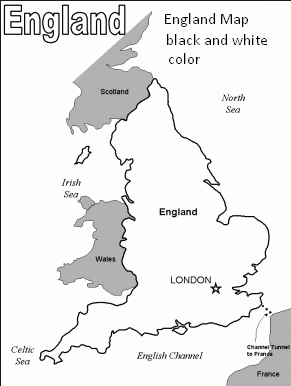 Map of England Black and White Color 2