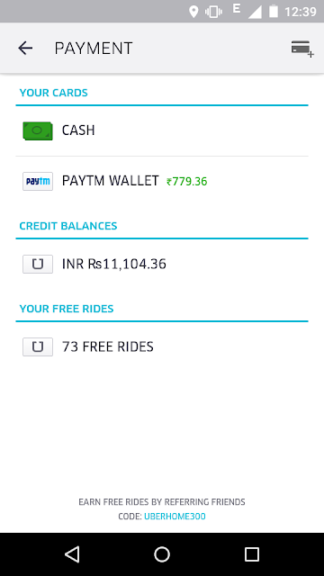 Uber Payment Options In India