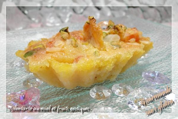 Polentarte au miel et fruits exotiques