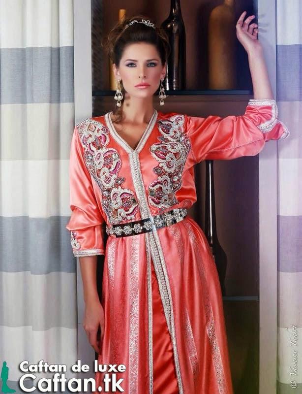 Caftan marocain | robe de soirée corail 2014