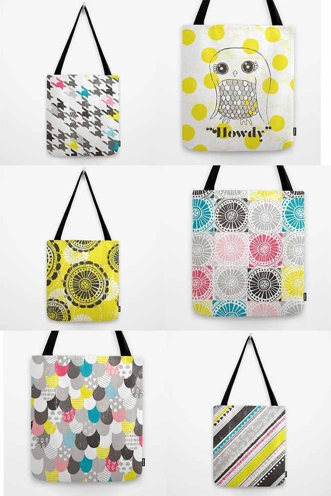 Kalliope collection tote bags by Oh, Hopscotch on Society6.