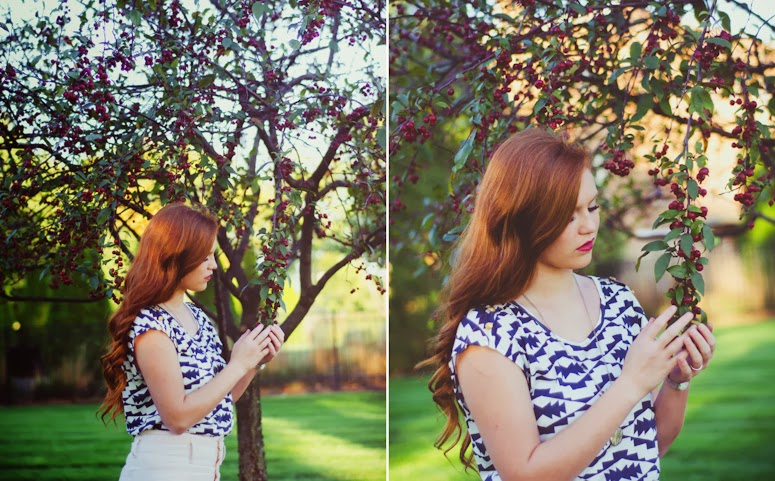 fort wayne photographer teen girl on location in downtown park trees and bold print