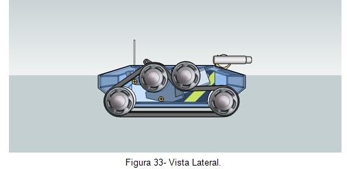 Vista lateral- Veículo movido por esteiras Orbital