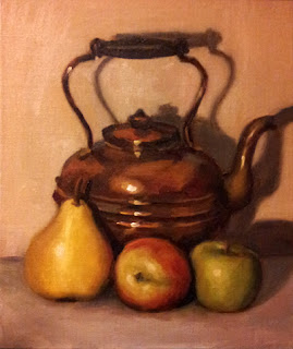 Oil painting of a copper kettle with a plastic pear and two plastic apples in front.