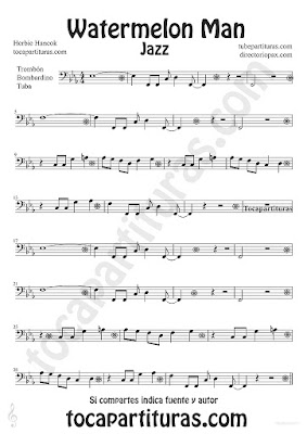 Tubescore Watermelon Man by Herbie Hancok Sheet Music for Trombone Tube and Euphonium Jazz Music