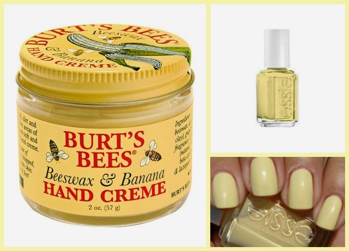 Burt's bees crema de manos platano essie barbuda banana minion