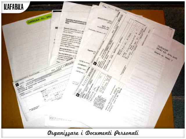 Organizzare i documenti Personali - Scuola