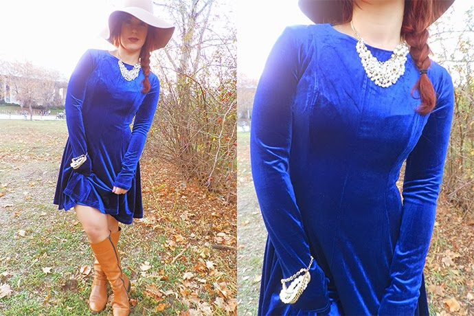 Personal style outfit featuring blue velvet dress from Fashion Union, Peal necklace and bracelet from H&M, felt floppy hat from H&M, Brown riding boots from Nickels