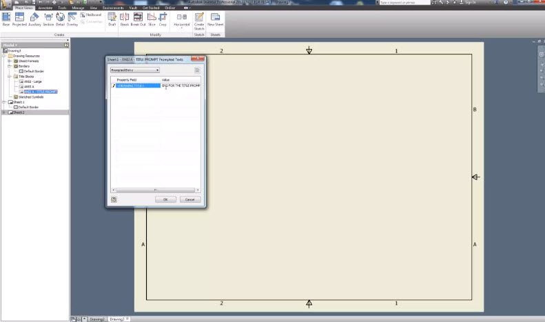 how to delete title block in inventor