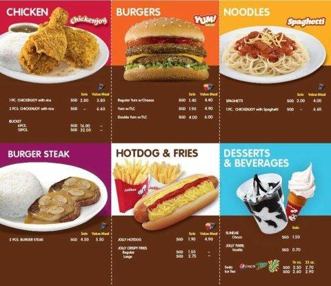 Jollibee Singapore Menu And Price List