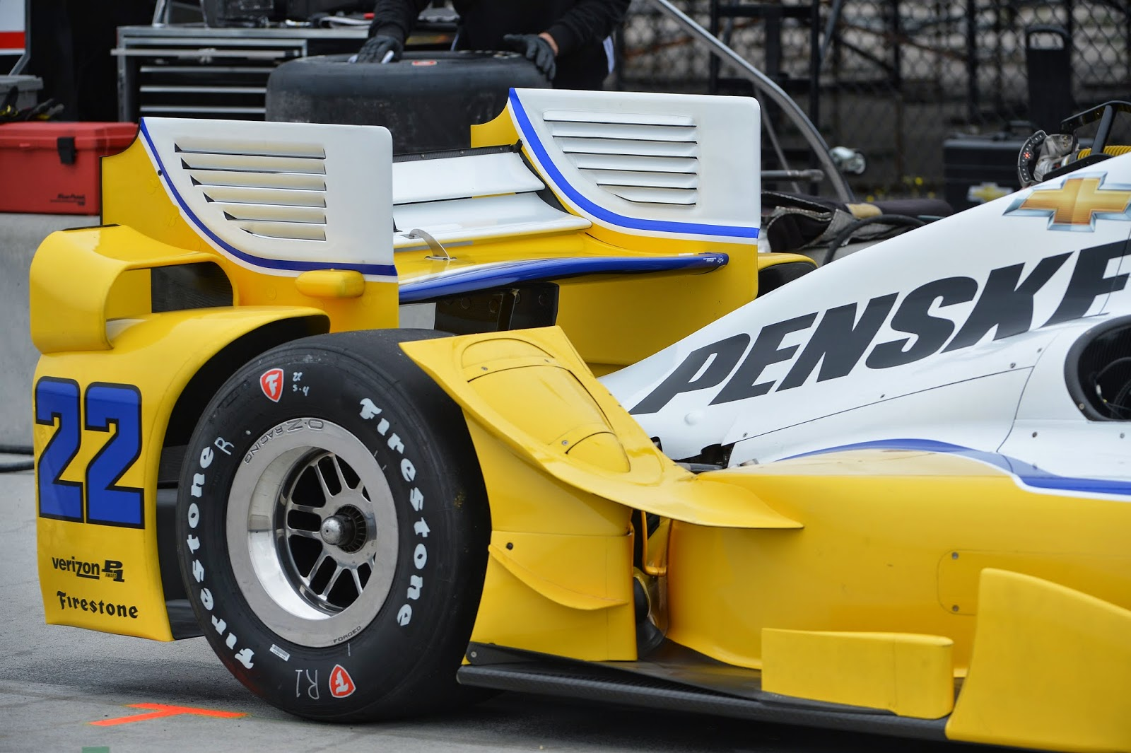 The rear-wing assembly of Simon Pagenaud's machine.