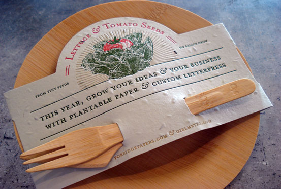 love love this idea from porridge papers and their sister company plantable seed paper for letterpress paper it actually has seeds embedded in it