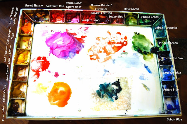 watercolor techniques and best watercolor supplies on http://schulmanart.blogspot.com/2011/06/tour-of-my-watercolor-palette.html