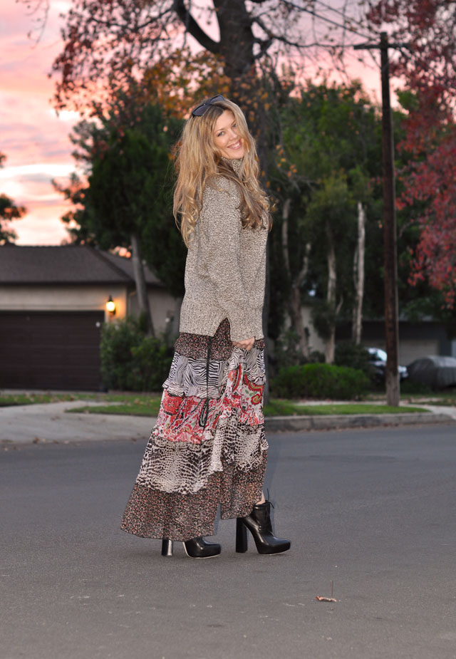 floral maxi dress with sweater for fall