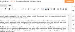 Mengecilkan Tampilan Dashboard Blogger