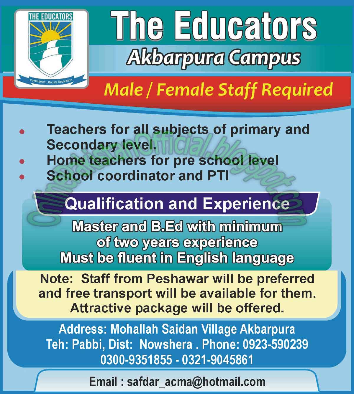 Staff Required for The Educators Akbarpura Campus Nowshera