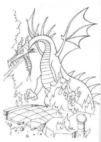 mis lindos dibujos: colorear dragon de bella durmiente