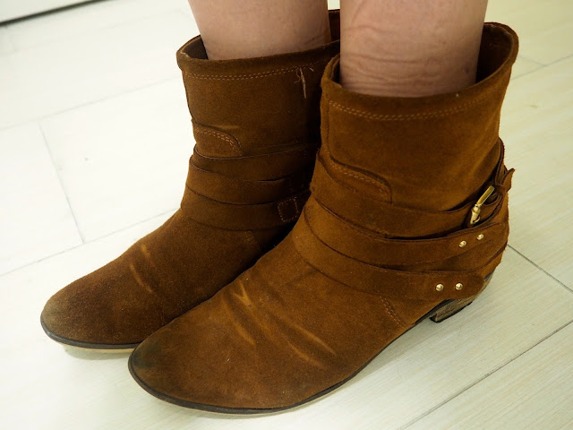 Fly Away | outfit shoe details of brown suede gold buckled ankle boots with straps