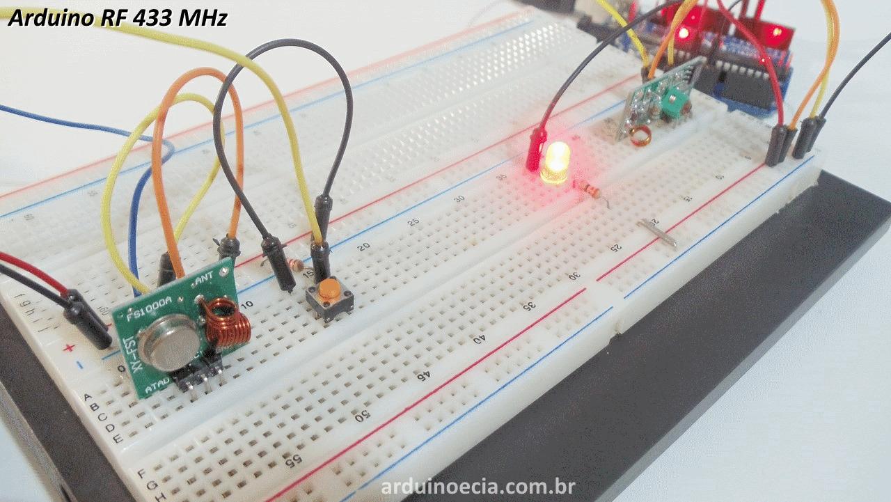 Comunicação sem fio Arduino módulo RF 433 MHz