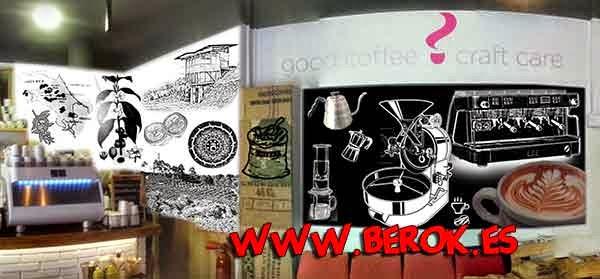 Graffiti decorativo para cafetería cubana en Barcelona