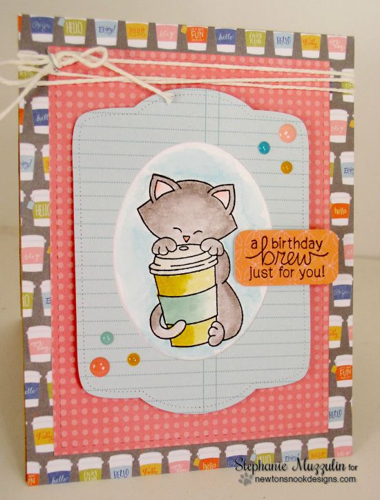 Coffee Cat Birthday Card by Stephanie Muzzulin | Newton Loves Coffee Stamp set by Newton's Nook Designs #newtonsnook #coffee