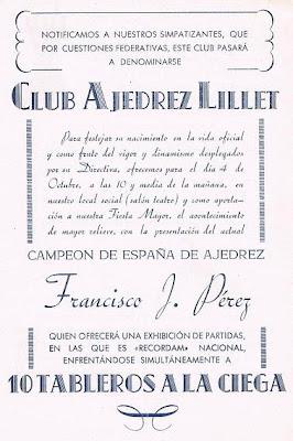 Cartel anuncio de las simultáneas de Francisco José Pérez