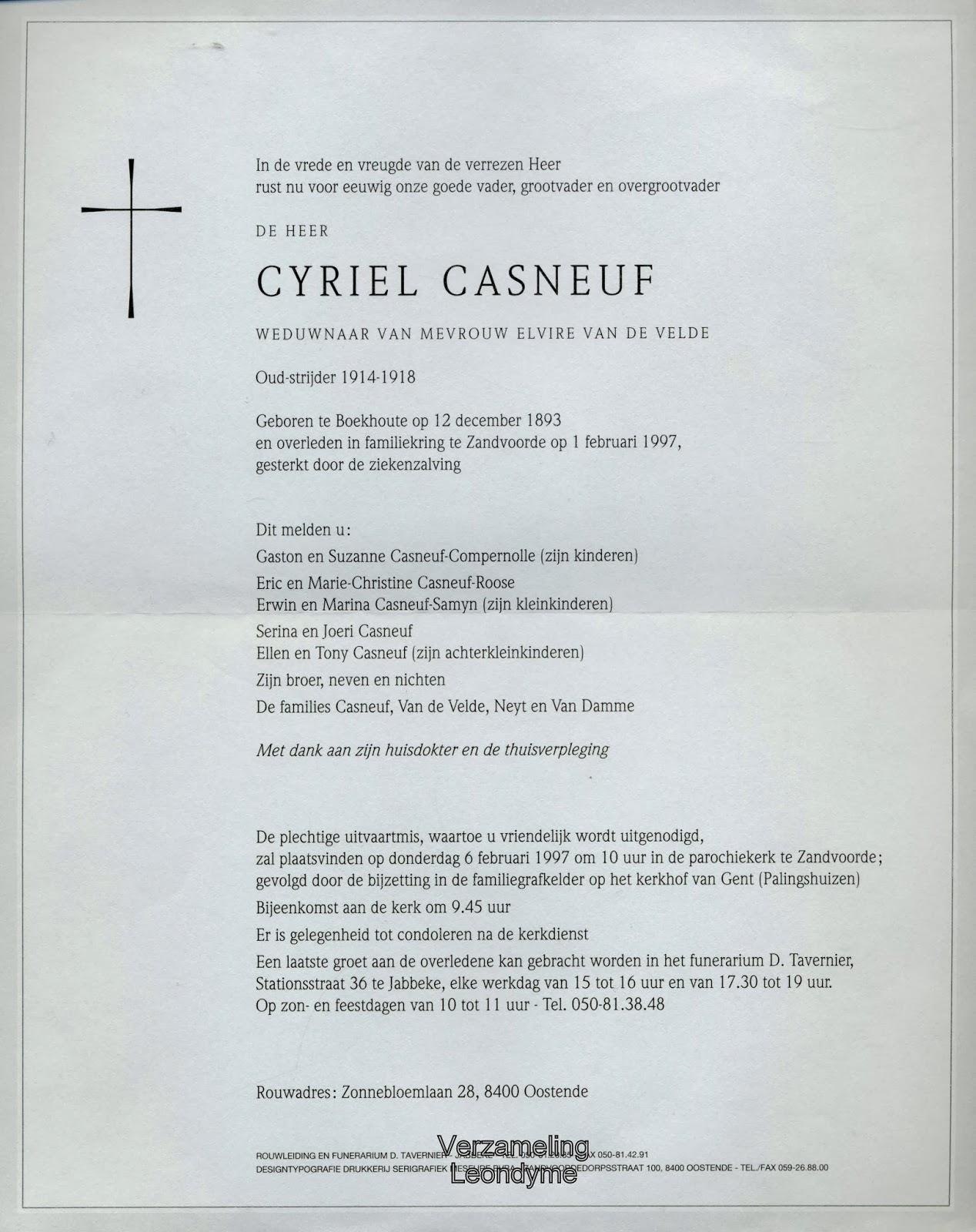 Rouwbrief Cyriel Casneuf 1893-1997. Verzameling Leondyme