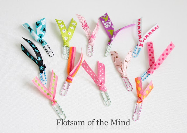 Paper Clip Ribbon Bookmarks as party favors - Flotsam of the Mind