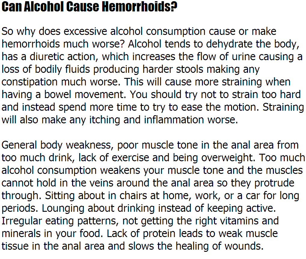 hemorrhoids remedy: hemorrhoids causes alcohol - can alcohol cause, Human Body