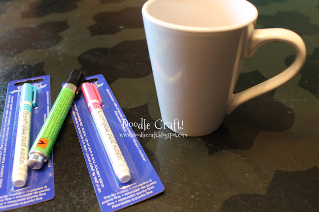 Doodlecraft customize your mug with glass paint markers for Enamel paint pens for glass
