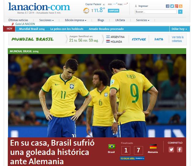 El diario La Nación tituló: En su casa, Brasil sufrió una goleada histórica ante Alemania