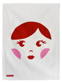 Sweet Babushka Tea Towel Scarlet