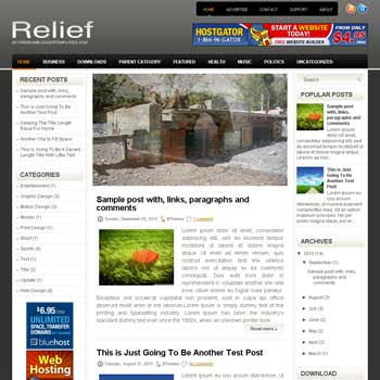 Relief blog template. magazine blogger template style. magazine style template blogspot. 3 column blogspot template