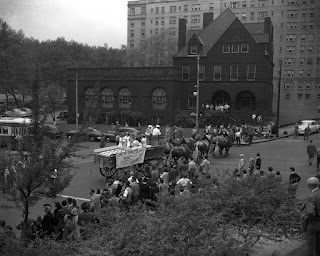 Dairy farmers in a parade, 1950, Pittsburgh