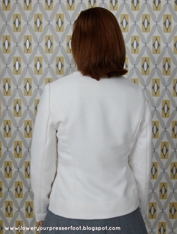 Vogue 9716 white wool tailored jacket with inset collar www.loweryourpresserfoot.blogspot.com