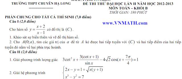 thi thu toan ly hoa chuyen ha long 2013 lan 1, 2, 3