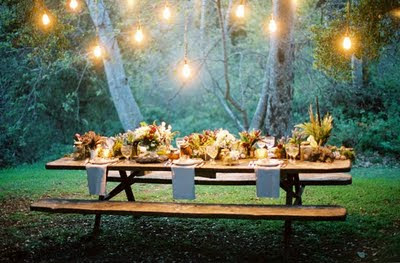 Picnic+table+reception Tail Gate Theme Rehearsal Dinner