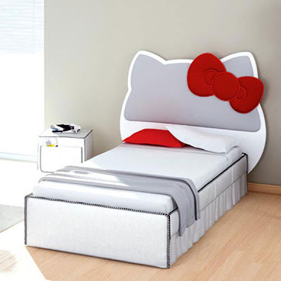 Hello Kitty modern white bed design