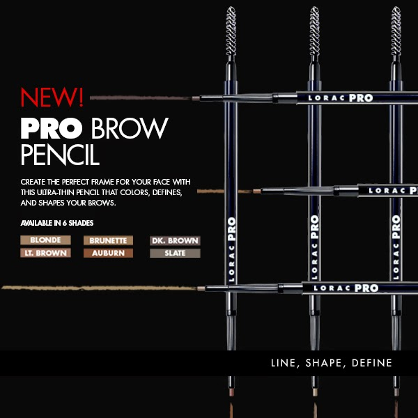 LORAC PRO BROW PENCIL Auburn, Blonde, Brunette, Light Brown, Dark Brown and Slate