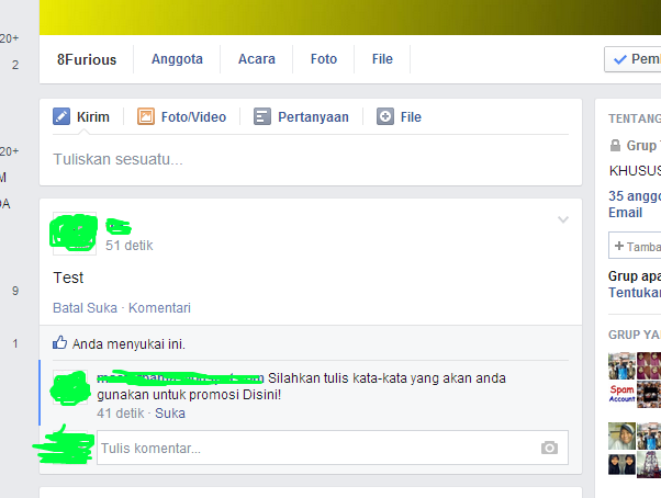 Auto Comment Di Grup Facebook Melalui Email (Spam)