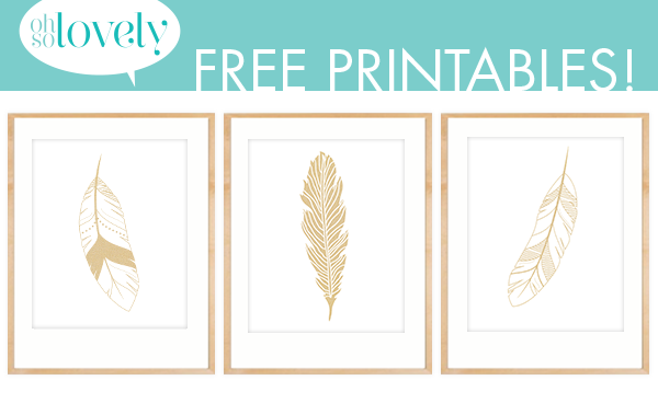 Freebies Gold Feather Prints Feather Decor Ideas Oh So Lovely Blog