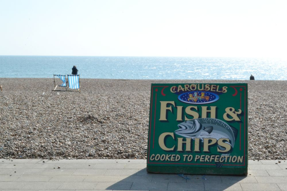 fish and chips sign board brighton beach