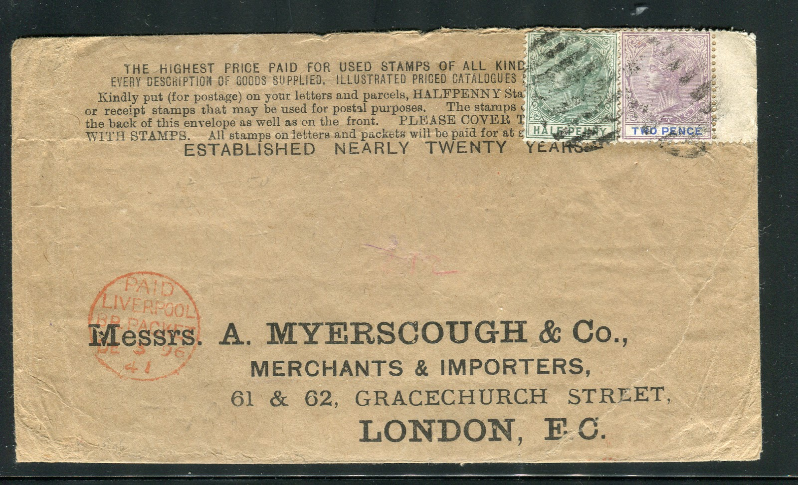Here Is An Interesting And Early Business Reply Envelope With What Appears To Be A Stamp Dealers Advertisement At The Top