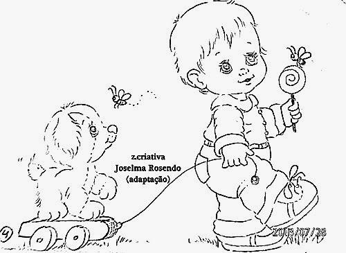 desenho  de menino com pirulito e puxando carriola com cachorrinho